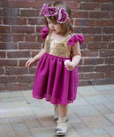 Look at this #zulilyfind! Plum Sequin Angel-Sleeve Dress - Infant, Toddler & Girls #zulilyfinds