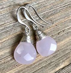 Min Favorit Pale Pink Chalcedony & Satin Silver Pl Artisan Wrap Earrings NEW '16 #minfavorit #Wrap