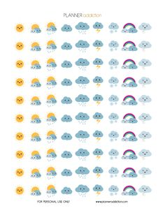 Weather Kawaii (Planner Addiction) Hello my planner addicts I will start to make more decorative printable planner stickers this week. Your suggestions are always appreciated. So today, it's Weather Kawaii. This Freebie fits in every