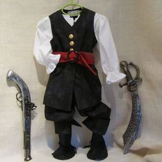 Toddler's 5 Piece Pirate Costume: Vest, Belt, Shirt, Spats, & Pants, size 18 months to 2.5 years old, Ready To Ship Now on Etsy, $145.00