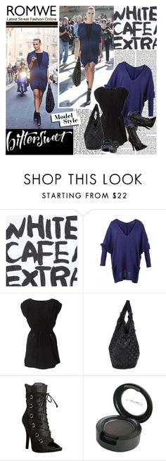 """""""Model Style"""" by ashley-rebecca ❤ liked on Polyvore featuring Issey Miyake, Givenchy, Dolce&Gabbana, MAC Cosmetics, oversized cardigans, bucket bags, lace up boots, romwe, mac cosmetics and peep toe booties"""