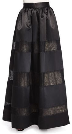 Alice + Olivia Prima Lace-Panel Ball Skirt
