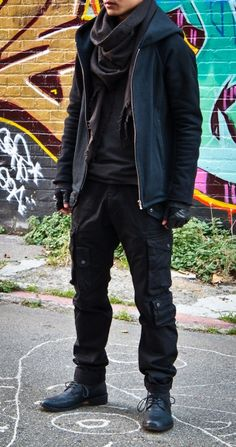 veroz is wearing: Distressed Scarf by Sircus, Black Hoodie by Volga Volga, Olive L/S Shirt by Attachment, Black Leather Wrapped Gloves by Forme d'Expression, Black Cargo Pants by Julius, Black Eternity 745 Ankle Boots by Florentini+Baker.