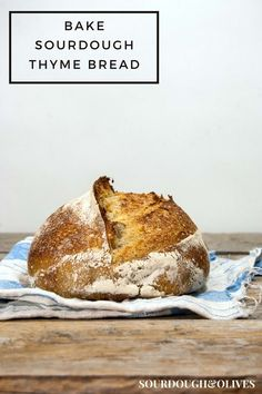 Baking with thyme infused water gives a fragrant bread with soft flavors of thyme and a hint of rye. This thyme sourdough bread goes well with most food.