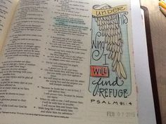 "Ps 91:14 - ""Under His wing"" - Bible journaling by Nola Pierce Chandler"