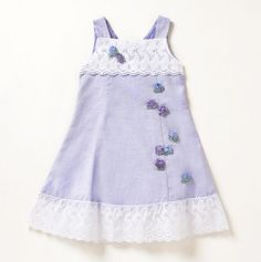 Laura Ashley Lilac Embroidered Lace Trimmed Dress