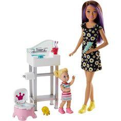 Barbie Skipper Babysitters in 2017 Mattel Potty Training Playset for sale online Site Da Barbie, Barbie Website, Barbie Fashionista, Doll Clothes Barbie, Doll Toys, Toddler Dolls, Baby Dolls, Child Doll, Mattel Barbie