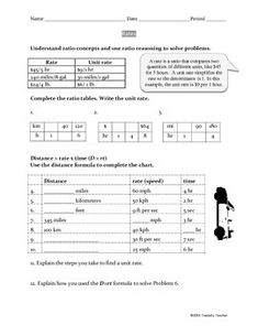 Rates Unit And Rate Reasoning Worksheet Common Core 6 Rp 2 3b