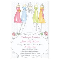 bridemaids brunch invitation | Vintage Brides and Bridesmaids Luncheon Invitations