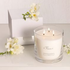 Buy Candles & Fragrance > Candles > Flowers Large 3-Wick Candle from The White Company