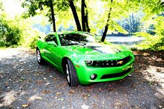 Lime green camero all it needs are two fins and it needs to be a convertable