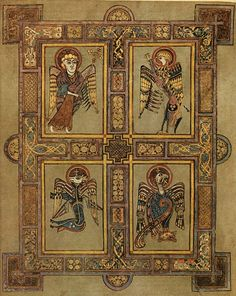 Four Evanglists in Book of Kells - Matthew(Human = humanity), Mark (Lion=resurrection), Luke (Ox=sacrifice), and John (Eagle=spirit).