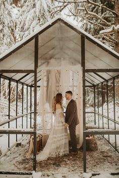 Minimal winter greenhouse elopement in Mt. Style & Design by Mae&Co Creative. Photo by Dawn Photo. Snow Wedding, Forest Wedding, Elope Wedding, Elopement Wedding, Dream Wedding, Winter Greenhouse, Greenhouse Wedding, Wedding Arbors, Wedding Ceremony Backdrop