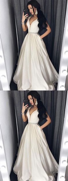 elegant ivory satin prom dress with beading, fashion v-neck party dress with pocket
