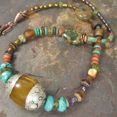 Random - Tibetan Amber, Turquoise, Copper necklace by DreamSome | KristiBowmanDesign - Jewelry on ArtFire