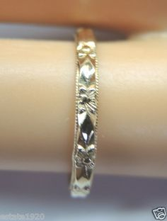 """ANTIQUE ART DECO LADIES WEDDING BAND  CIRCA ~ 1930'S  METAL ~ 14KY SOLID GOLD   WEIGHT ~ 1.2 GRAMS  FINGER SIZE ~ 5 U.S.A & CANADA  (J1/2) UNITED KINGDOM, IRELAND, AUSTRALIA & NEW ZEALAND  (9) INDIA, CHINA, JAPAN, SOUTH AMERICA  (9.25) ITALY, SPAIN, NETHERLANDS,  SWITZERLAND  INSIDE DIAMETER ~ 0.618 INCHES - 15.7 MM  INSIDE CIRCUMFERENCE ~ 1.94 INCHES - 49.3 MM  WIDTH ~ 2.04 MM (0.0805"""")"""
