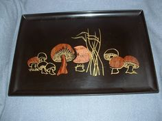 "Couroc Vintage Tray Wood + Brass Inlaid Black Base Mushrooms 18"" by 12.50"""