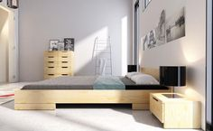 Solid Pine, Solid Wood, Bedside Cabinet, Wood Drawers, Classic Interior, Drawer Fronts, How To Make Bed, Bed Frame, Furniture