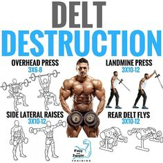 Improve the appearance and strength of your delts with science-based workout. you maximize your shoulder development with a science-based exercise attack. By adding muscle on your side delts and also your reducing waist size, deltoid de Fitness Workouts, Gym Workout Tips, Weight Training Workouts, Total Gym Workouts, Traps Workout, Glute Workouts, Delts Workout, Reto Fitness, Preparation Physique