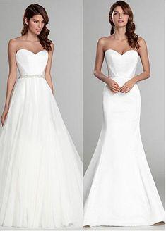 Amazing & Glamorous Satin & Tulle Sweetheart Neckline Natural Waistline  2 In 1 Wedding Dress