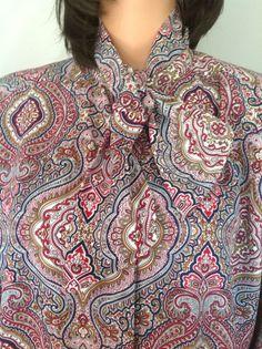 Blouse Top Alfred Dunner  16 Neck Tie Multicolor Designer Fashion  Women Chic  #AlfredDunner #BlouseButtonDown #BusinessProffessionalParty