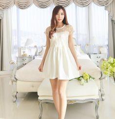 Short Sleeve Dresses Summer Korean Individual Design Pretty Organza Splicing Solid Color O-Neck Short Sleeve A-Line Dresses #womendress #womensummerdress #summerdress
