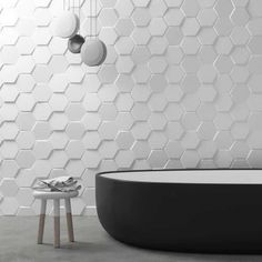 Wallcovering: 12 Ways to Adopt Tiling in the Bathroom - - 3d Tiles Bathroom, Bathroom Wall, Wall Tiles, Office Bathroom, Hexagon Tile Backsplash, Acoustic Wall Panels, Foam Panels, Leather Wall, Sound Proofing