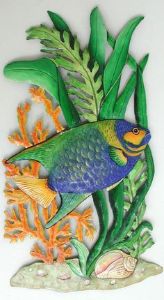 Metal Art, Tropical Fish Metal Wall Hanging - Painted Metal Tropical Decor, Metal Wall Art Fish Design - Island Decor, Beach Art - by TropicAccents on Etsy Tropical Artwork, Tropical Wall Decor, Fish Wall Decor, Fish Wall Art, Tropical Design, Fish Art, Fish Fish, Coastal Decor, Outdoor Metal Wall Art