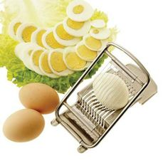"Paderno World Cuisine Egg Slicer, Stainless Steel, 5"" by Paderno World Cuisine. $41.01. Dishwasher safe. Easy to use. With comfortable grip. Stainless steel construction. Cuts eggs into uniform slices. This Paderno World Cuisine egg slicer is made of 100% stainless steel."