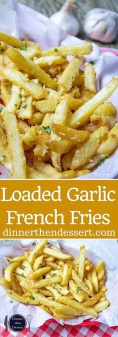 Oven Baked Loaded Garlic French Fries tossed in slightly warmed chopped garlic, olive oil and kosher salt, just like you enjoy at the ball game! I would use olive oil Think Food, I Love Food, Good Food, Yummy Food, Tasty, Delicious Recipes, Vegetable Recipes, Vegetarian Recipes, Cooking Recipes