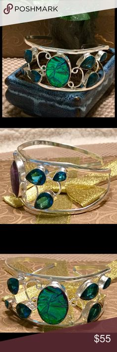 Australian cuff Simply beautiful Australian triple opal, blue tourmaline gemstone. 925 sterling silver cuff. It. Is handmade with beautiful details  size is adjustable and color varies with lighting. Jewelry Bracelets
