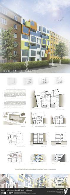 Studentský projekt. LS 2013/2014. FSv ČVUT v Praze. Ideas Para, Desktop Screenshot, Floor Plans, Diagram, Building, Projects, Presentation Board Design, Buildings, Tile Projects