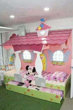 Little girl's pretty, pink, Minnie Mouse room. Stylish Eve