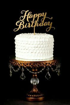 Shimmery Gold Happy Birthday Cake Topper by Better Off Wed on Etsy… Happy Birthday Sms, Happy Birthday Cake Topper, Birthday Fun, Birthday Quotes, Birthday Coffee, Vintage Cake Toppers, Custom Wedding Cake Toppers, Gay Wedding Cakes, Happy B Day