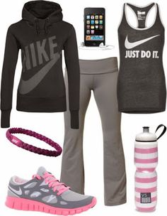 Perfect Nike outfit for sport ladies | Fashion World | See more about nike outfits, nike shoes and yoga pants.