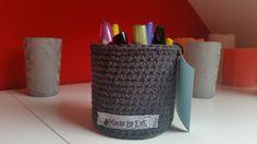 Häkelkörbchen fürs Bad L dunkelgrau 9 cm von Made By EvE - Wohndeko selbst gehäkelt auf DaWanda.com
