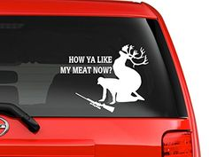 Hunting accident deer funny quote cartoon silhouette car truck laptop macbook window decal sticker 6 inches white