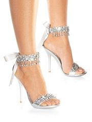 sparkling silver strappy heels with bows!