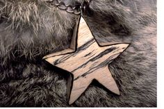 Star Necklace Star pendant Carved wood star by FluffyFenris