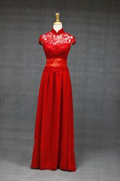 Chinese Wedding Fusion Bridal Gown Dress in Lace Supreme High Quality White/Red. $125.00, via Etsy.