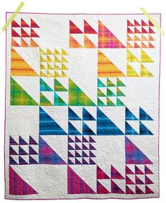 Fun half square triangle quilt with lots of sizes! Tree Quilt Pattern, Baby Boy Quilt Patterns, Strip Quilt Patterns, Strip Quilts, Scrappy Quilts, Boy Quilts, Mini Quilts, Half Square Triangle Quilts Pattern, Fat Quarter Quilt