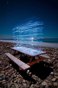 """Cuboid, Bacara Beach, by Toby Keller. A light painting Light Painting Photography, Color Photography, Creative Photography, Exposure Photography, Night Photography, Photography Essentials, Ecole Art, Light Art, Light And Shadow"