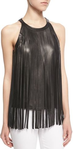 Cusp by Neiman Marcus Sleeveless Leather #FringeTop #shirts  #blacktops #fringe