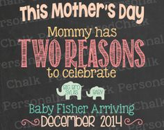 Mother's Day Pregnancy Announcement by PersonalizedChalk on Etsy, $8.00