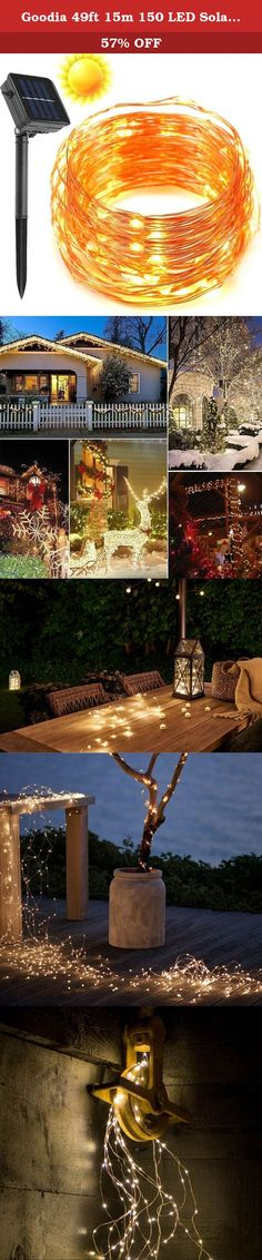 Goodia 49ft 15m 150 LED Solar Waterproof Copper Wire Lights,String Lights for Outdoor,Bedroom,Patio,Lawn,Landscape,Fairy Garden,Home,Wedding,Holiday,Christmas Tree,Halloween,Party (Warm White). Description: Create a magical lighting sentiment for your room, window or office with the Garden Lights now. On a number of occasions or parties will glow with creativity when you include these bendable and flexible lights to your décor. Wrap them around plants or patio furniture in your garden, or...