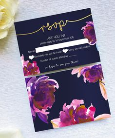 Dusky Blooms // deep purple and pink watercolour floral wedding RSVP design