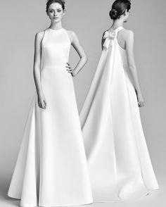 Viktor&Rolf Spring 2018 Wedding Dress Collection   Martha Stewart Weddings – High-neck A-line wedding dress with back bow
