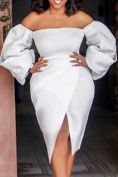 White Party Attire, All White Party Outfits, White Outfits For Women, All White Outfit, White Dress, Sunday Clothes, Fancy Wedding Dresses, White Fashion, Dresses With Sleeves
