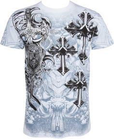Amazon.com: Sakkas Cross, Sword and Shield Metallic Silver Embossed Cotton Mens T-Shirt: Clothing