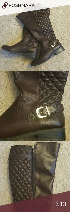 Merona Brown Boots Very comfortable brown boots with buckles and quilt sticking. They sit just below the knee and are perfect for a wide calf. Merona Shoes